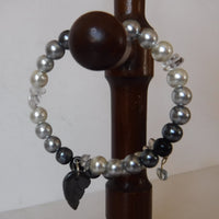 Quartz and Crystal Pearl Wire Bracelet Handcrafted