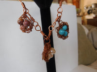 Gemstone Bird Nest Charm Copper Wire Bracelet