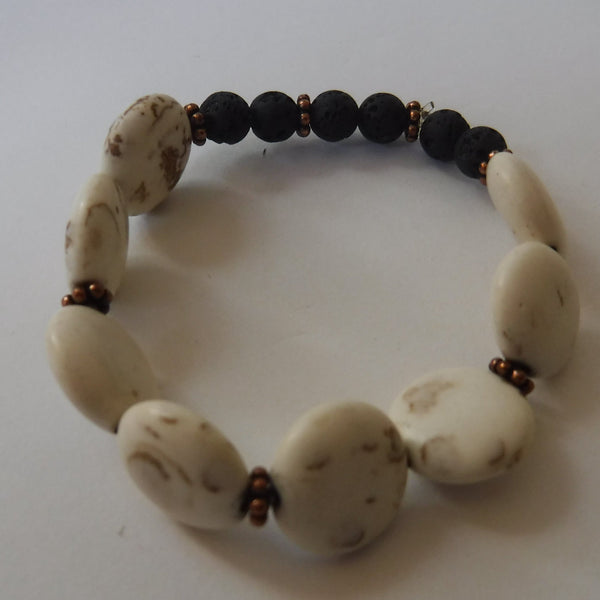 Lava Stone and Magnesite Stretch Bracelet
