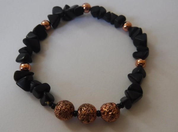 Lava Stone and Agate with Copper Stretch Bracelet