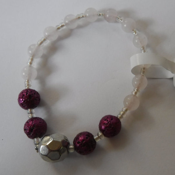 Lava Stone and Rose Quartz Stretch Bracelet