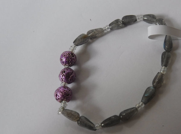 Lava Stone and Labradorite Stretch Bracelet