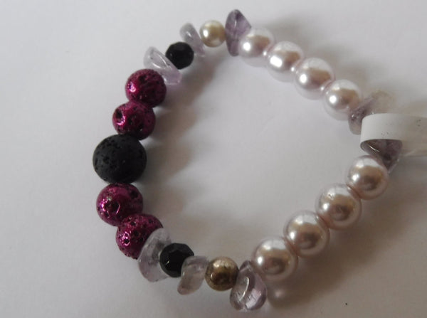 Lava Stone Amethyst and Crystal Pearl and Glass Stretch Bracelet