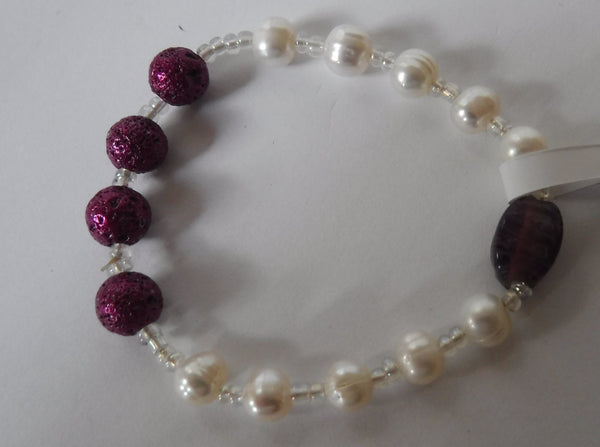 Lava Stone and Genuine Pearl and Glass Stretch Bracelet