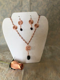 Copper Spiral & Garnet Necklace and Earring Set