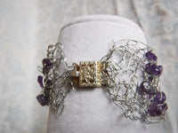 Amethyst Silver Plated Copper Wire Crochet Bracelet