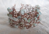 Amazonite Wire Crochet Bracelet