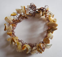Mother of Pearl Wire Crochet Bracelet