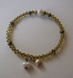 Pearl Crystal and Hematite Bracelet Handcrafted