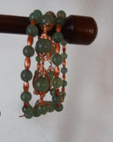 3 Strand Copper and Green Aventurine Cuff Bracelet Handcrafted