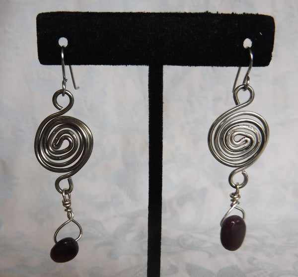 Titanium Garnet Spiral Drop Earrings