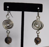 Black Dragon Vein Agate Titanium Spiral Drop Earrings