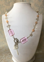 Pink Aventurine & Quartz Crystal Necklace