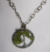 Peridot Tree of Life Copper Wire Necklace