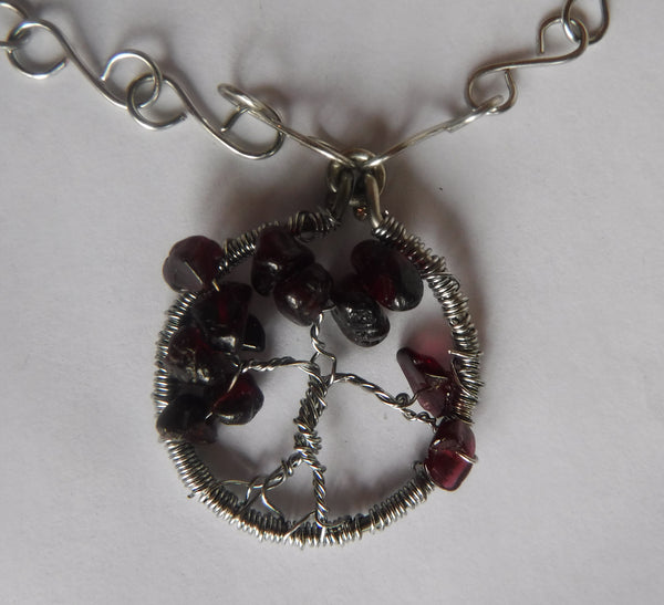 Garnet Tree of Life Copper Wire Necklace