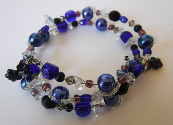 Quartz and Cobalt Blue Glass Wire Wrap Bracelet Handcrafted