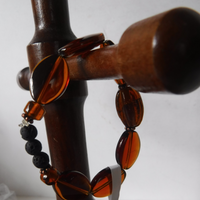 Lava Stone and Amber Glass Stretch Bracelet