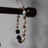 Lava Stone Pearl and Copper Stretch Bracelet