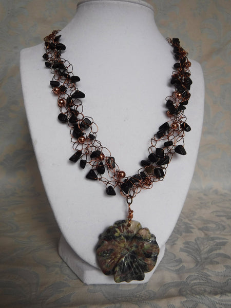 Agate and Copper Wire Crochet Necklace with Carved Jasper Flower Drop