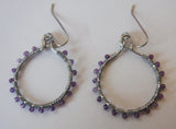 Amethyst February Birthstone Hoop Earrings
