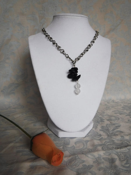 Selenite and Black Tourmaline Necklace