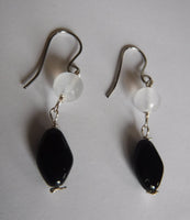 Selenite and Black Glass Drop Earrings
