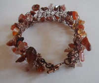Red Agate and Copper Wire Crochet Cuff Bracelet