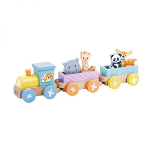 Pastel train with animals