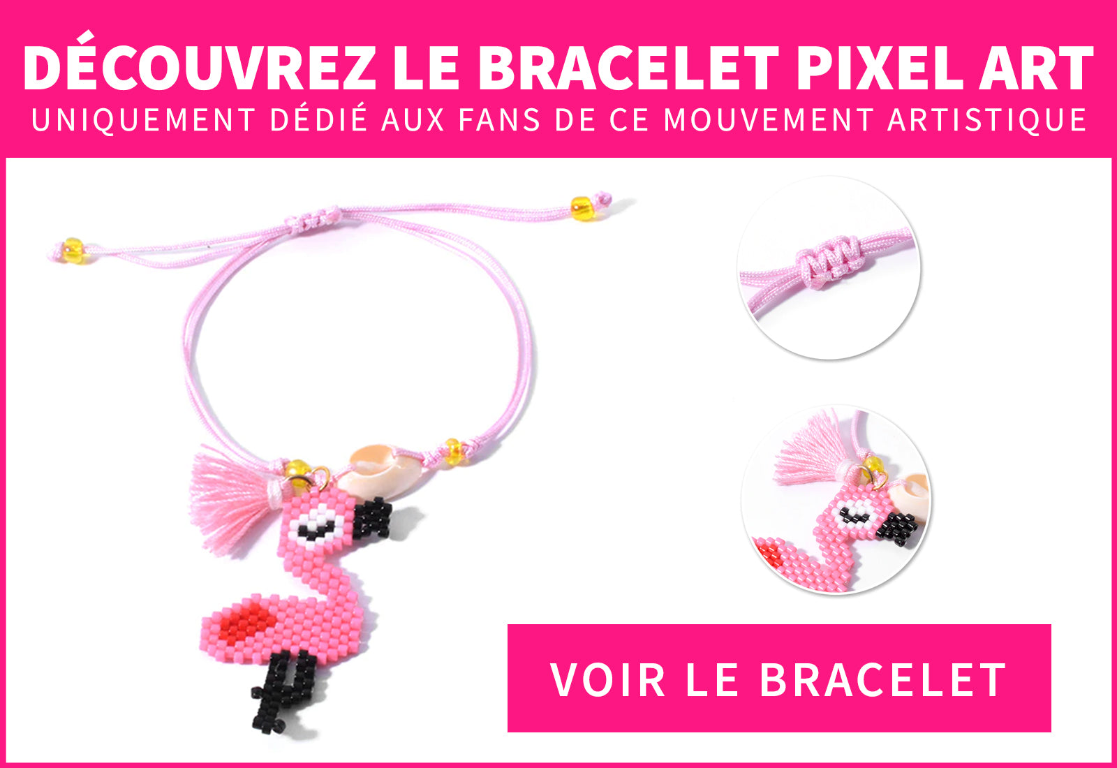 Bracelet avec Flamant Rose en Diamants
