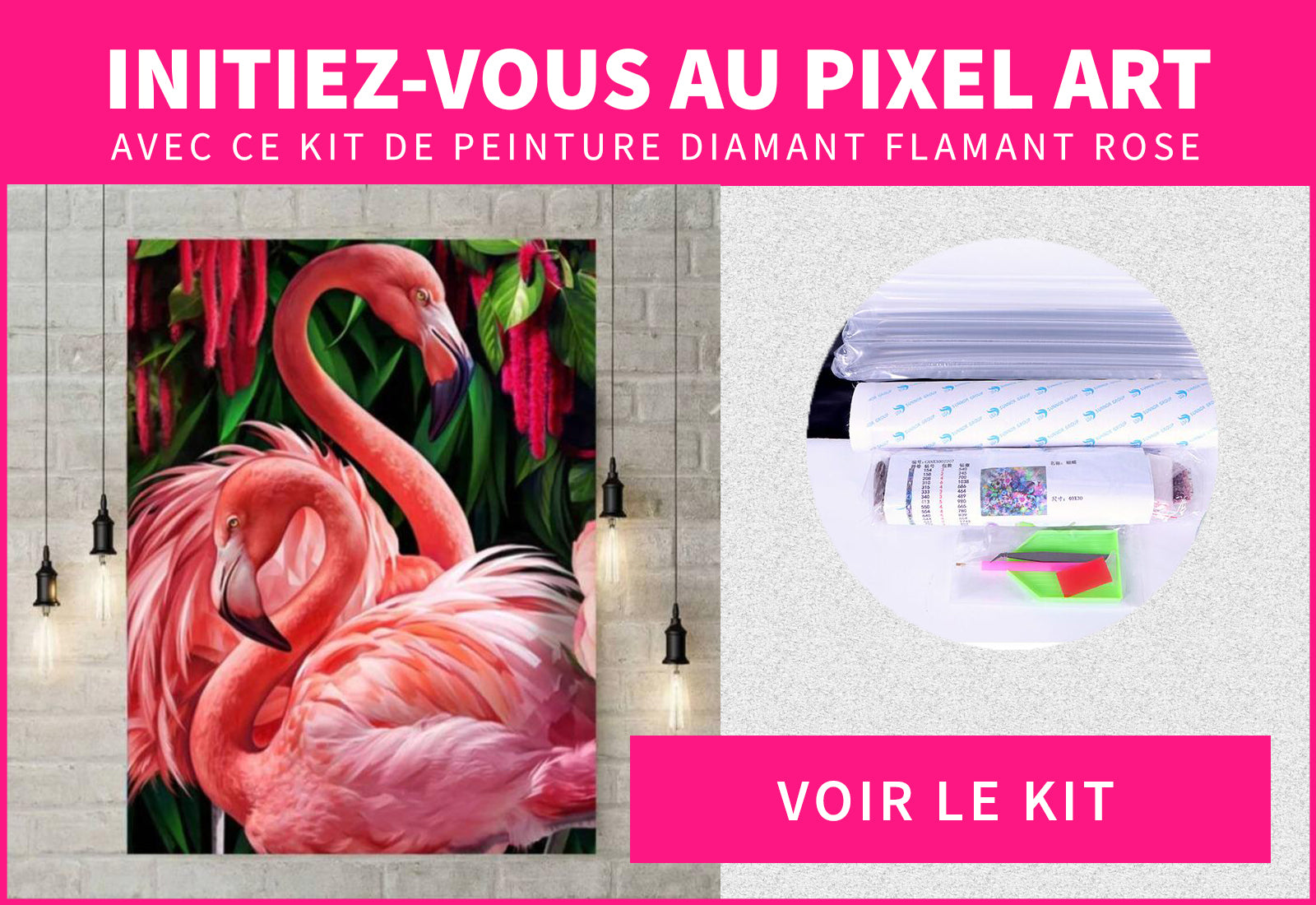 Flamant Rose en Pixel Art : Kit de Peinture Diamant