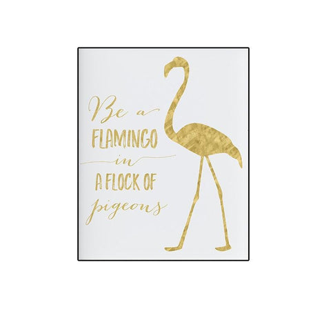 Tableau Flamant Rose<br/> Slogan en Or