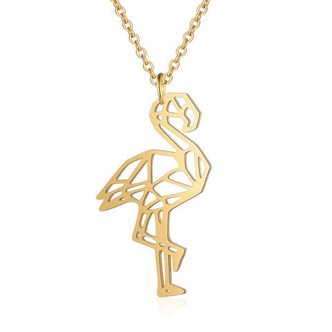 Collier Flamant Rose<br/> Géométrique Gold
