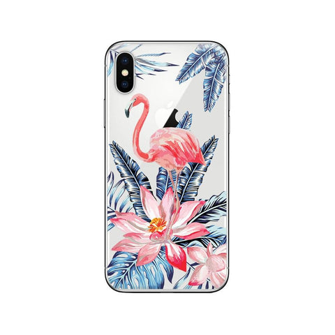 Coque iPhone Flamant Rose Tropical | ROSEUS