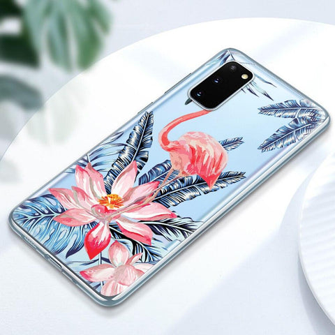 Coque Samsung Flamant Rose Tropical | ROSEUS