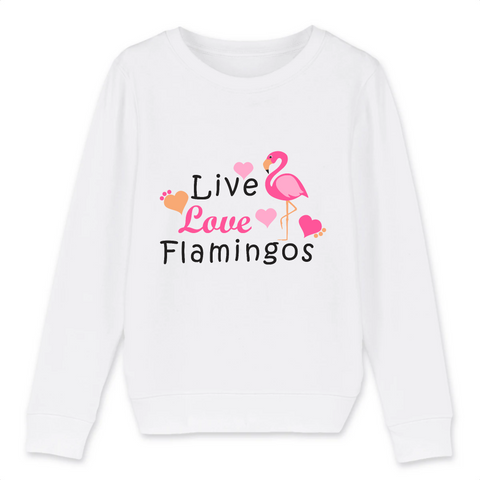 Sweat Flamant Rose Love Flamingos (Coton Bio)