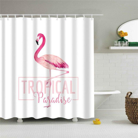 Rideau Douche Tropical Flamant Rose | ROSEUS
