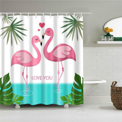 Rideau de Douche Flamant Rose Love You | ROSEUS