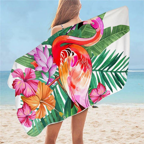 Serviette de Bain Flamant Rose Exotique | ROSEUS