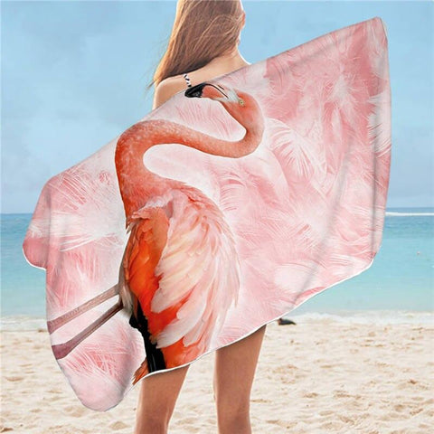 Serviette de Bain Rose Flamant Rose | ROSEUS
