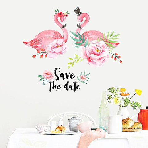 Sticker Mural Flamant Rose Romantique | ROSEUS