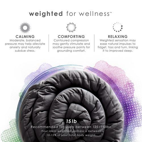 15LB Weighted Blanket Packaging Benefits in Dove Gray
