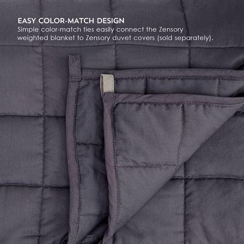 "15LB Weighted Blanket 4"" Pocket Detail with Matching Duvet in Dove Gray"