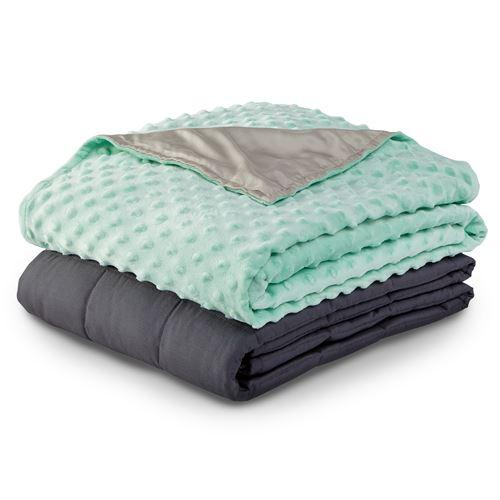Kids Weighted Blanket in Dark Grey with Duvet Cover Dove Grey and Teal