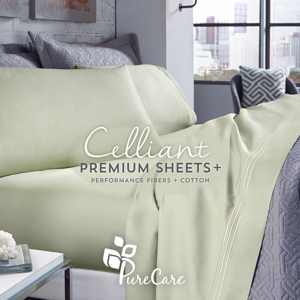 PureCare Celliant Sheet Set in Sage on a Bed