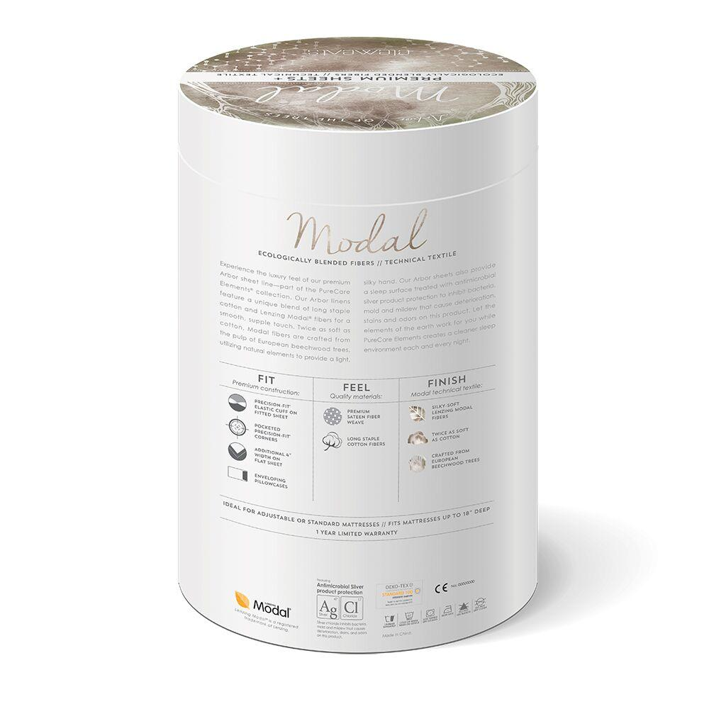 PureCare Essentials Modal Sheet Set Packaging back with Benefits