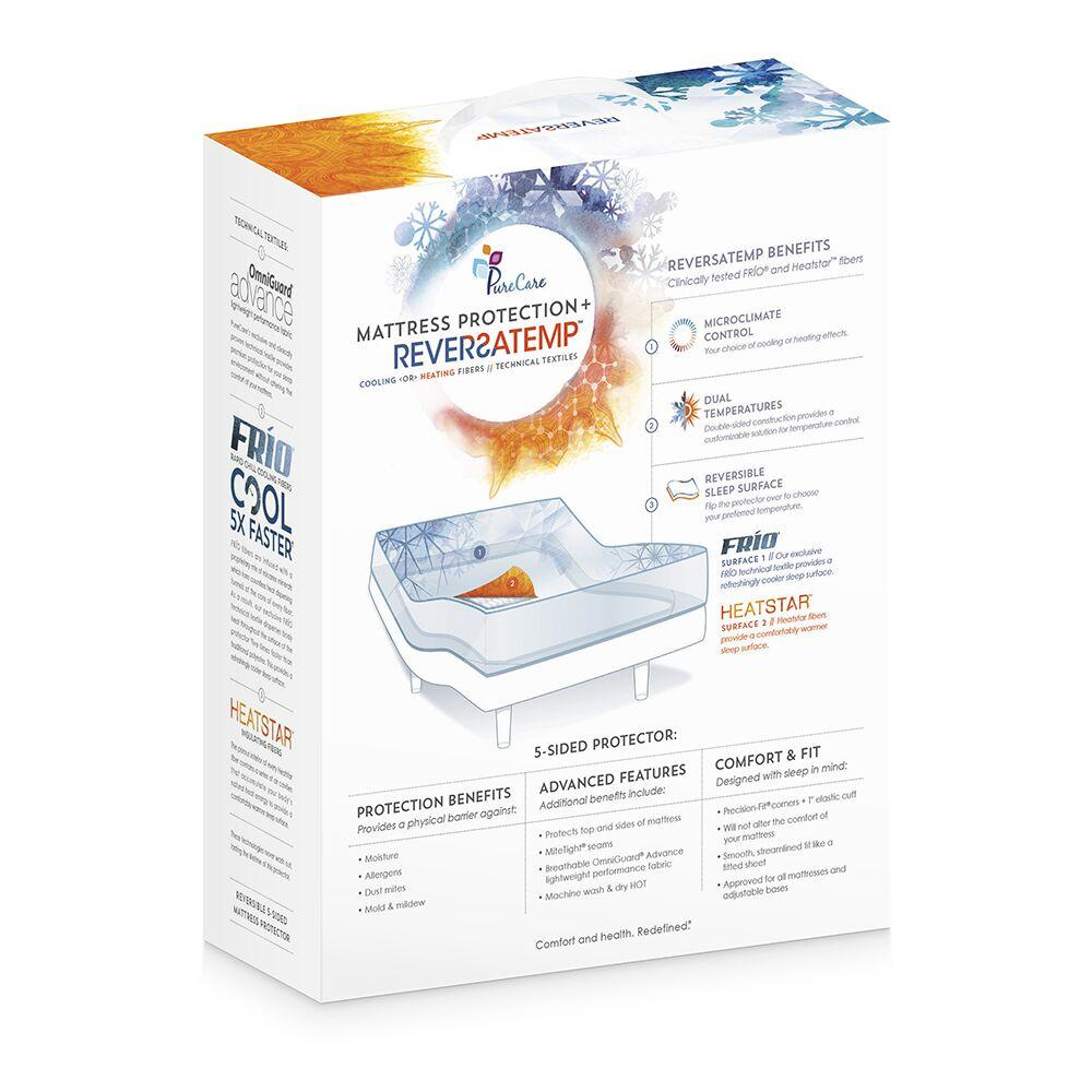 PureCare ReversaTemp 5-Sided Mattress Protector Back Packaging with Benefits