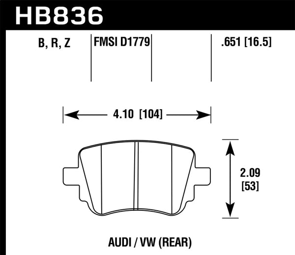 Hawk 15-17 Volkswagen Golf / 15-16 Volkswagen Golf GTI HPS 5.0 Rear Brake Pads