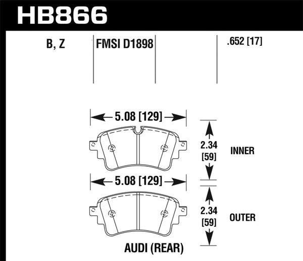 Hawk 18-19 Audi S5 HPS 5.0 Rear Brake Pads
