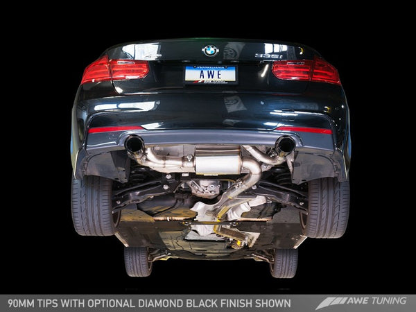 AWE Tuning BMW F3X 335i/435i Touring Edition Axle-Back Exhaust - Diamond Black Tips (102mm)