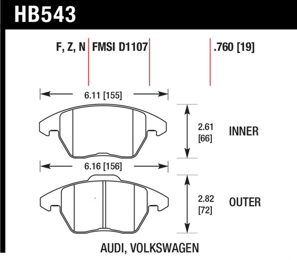 Hawk Audi A3/TT / VW EOS / Golf / Jetta / Passat / Rabbit DTC-60 Front Race Brake Pads